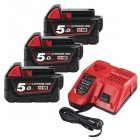 PACK NRJ 18V 3 Batteries 5Ah Red Li-ion + 1 Chargeur M18 NRG-503